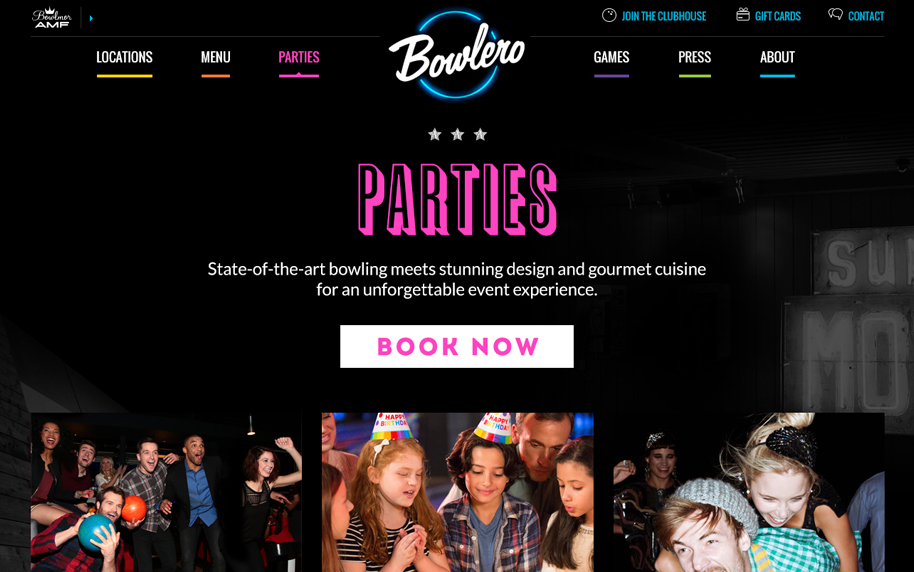 Bowlero Parties Page
