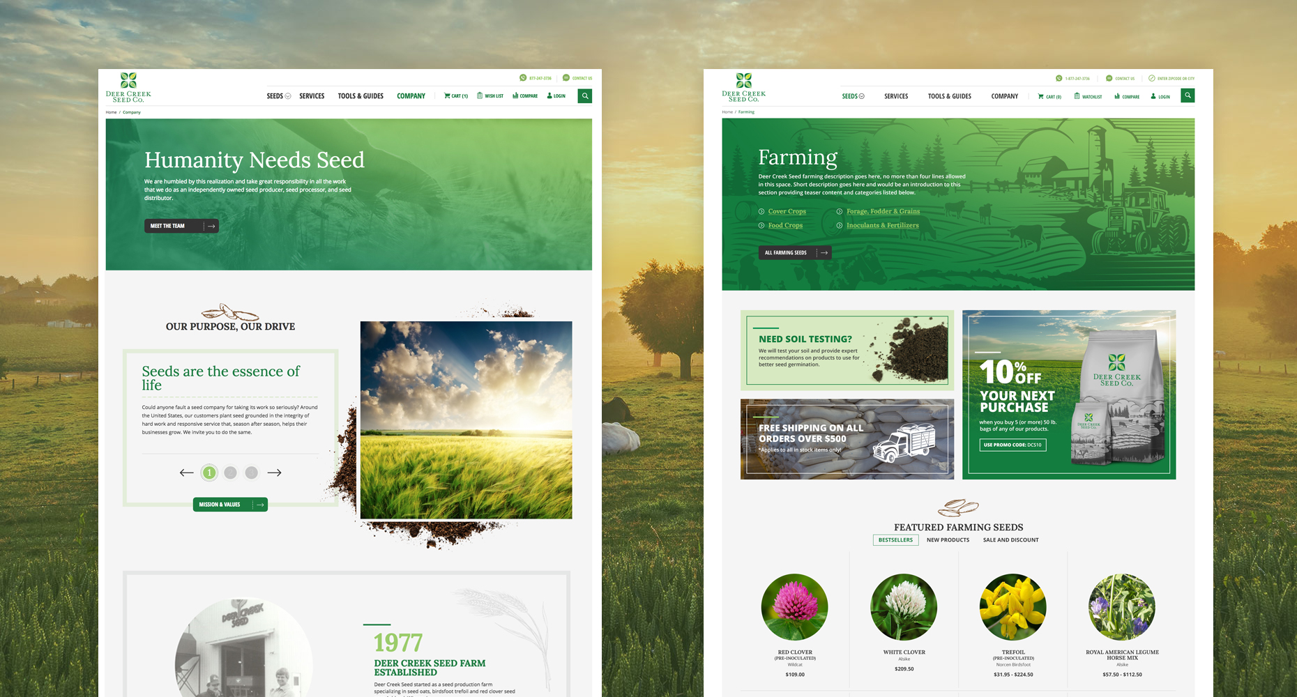 Deer Creek Seed new website Design
