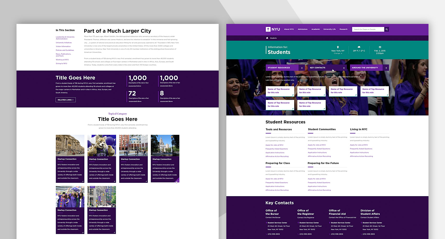 New NYU website design