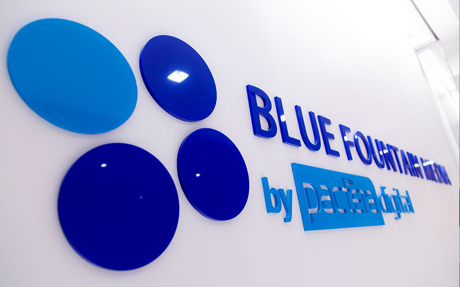Blue Fountain Media Logo Wall