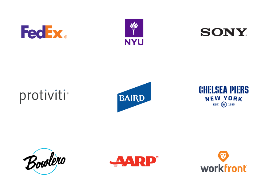 an image of our client logos, including FedEx, NYU, Sony, Chelsea Piers, Protivity, AARP, and others