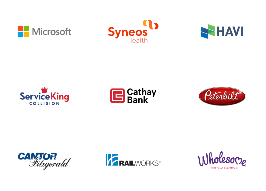 an image of our client logos, including Microsoft, Havi, Service King, Cathay Bank, Peterbilt, and others