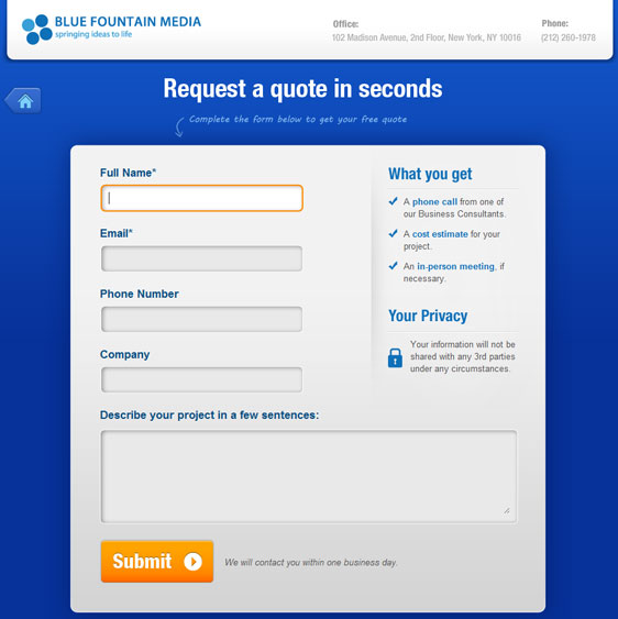 Our new request a quote form