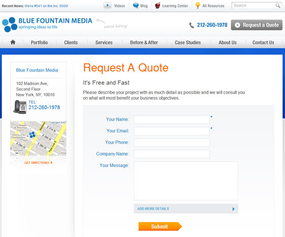 Our current request a quote form.