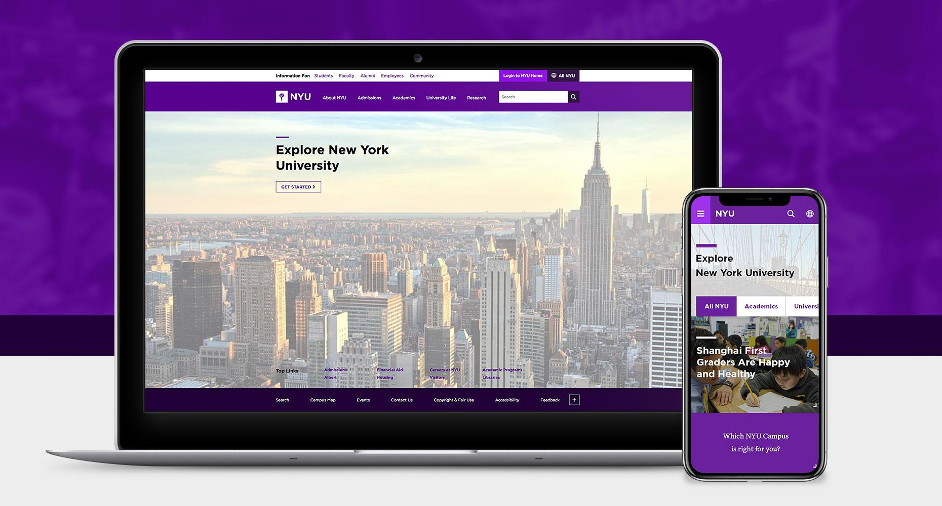 NYU Website Design by BFM