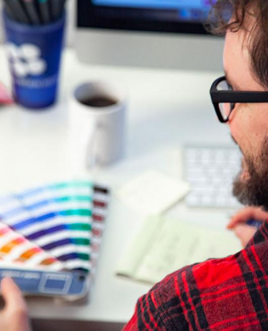 Designer choosing colors